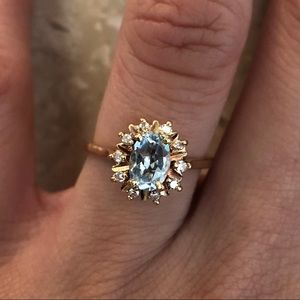 Jewelry - Sunburst Aquamarine Diamond Halo Yellow Gold Ring
